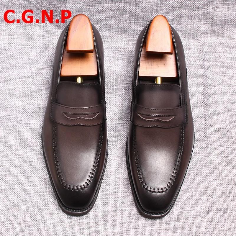 Slip C.G.N.P Goodyear italiana estilo de los hombres de los holgazanes Handmde En casuales zapatos de cuero de zapatos de los hombres de vestir transpirable de cuero genuino