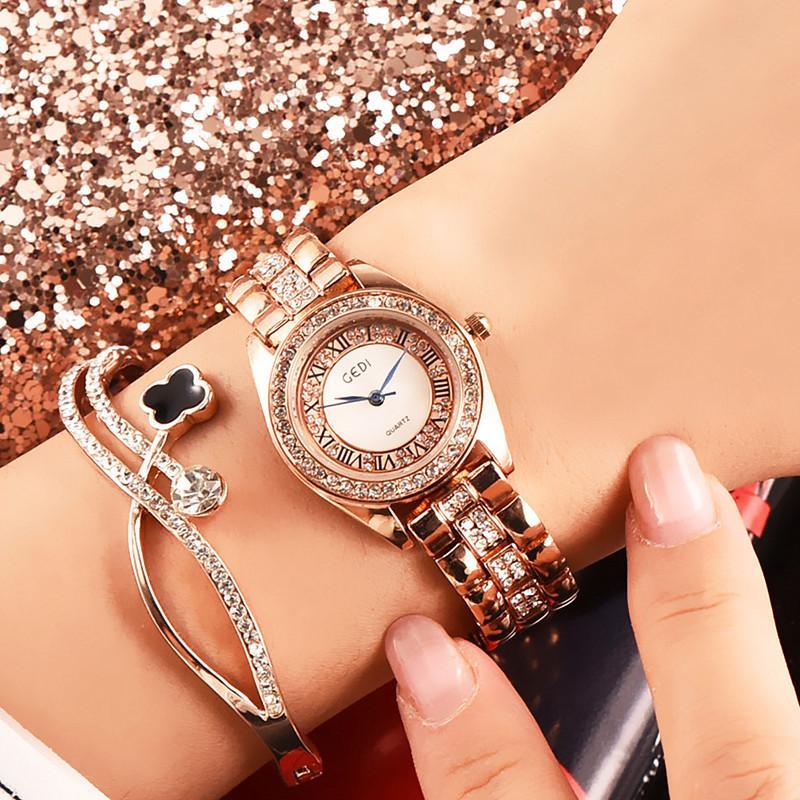 Luxe Top Fashion Marque Montre Femme Montre diamant Waterproof Dial poignet Cadeaux No Fade Steel Montres pour femmes