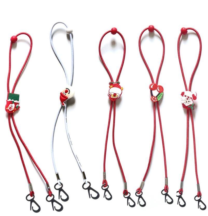 Natale Mask Cordino regolabile Lunghezza Maschera Extender Strap Cartoon Babbo Natale Anti-perdita titolare Maschera corda Favore di partito GGA3744-6
