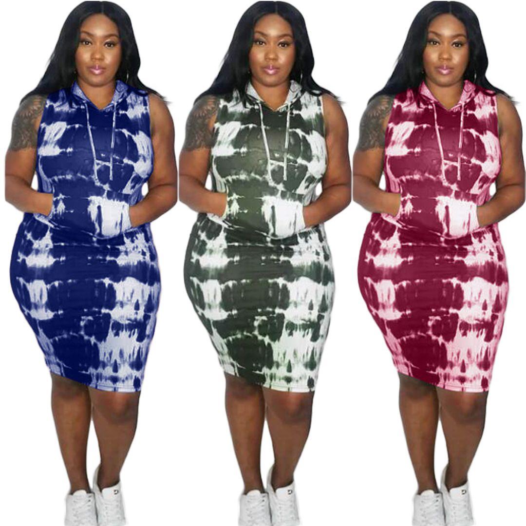 Outono desgaste ativo Tie Dye Imprimir com capuz mangas Plus Size L-4XL Mulheres Bodycon Midi Vestidos Vestidos Streetwea Vestidos
