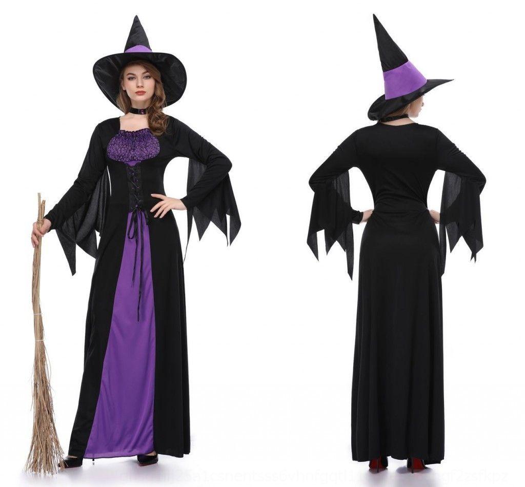 0kbdz одежда Новый фиолетовый костюм ведьмы HNUnl одежда костюм ведьмы для взрослых ролевые игры Хэллоуин костюм платье косплей костюм
