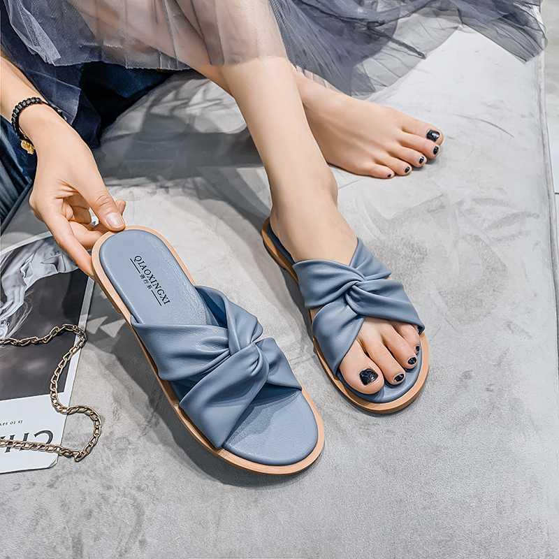 Hausschuhe Katelvadi Große Größe 35-43 Sommer Blaue Quadratische Zehe Schuhe Weiche PU-Leder Sandalen Frauen Strand XH-004