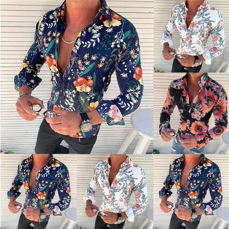 الرجال تيز بالاضافة الى حجم عارضة أوم بلايز الصيف ذكر مصمم قمصان Floarl مطبوعة كم طويل الياقة واحدة اعتلى ترتيب الغرف