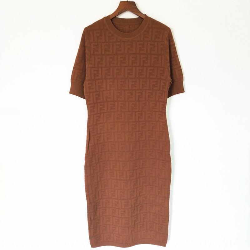 Olvnp m82OQ rodada Verão manga pescoço qualidade novo FF vestido de pérolas de seda gelo vestido curto de malha boa 2020