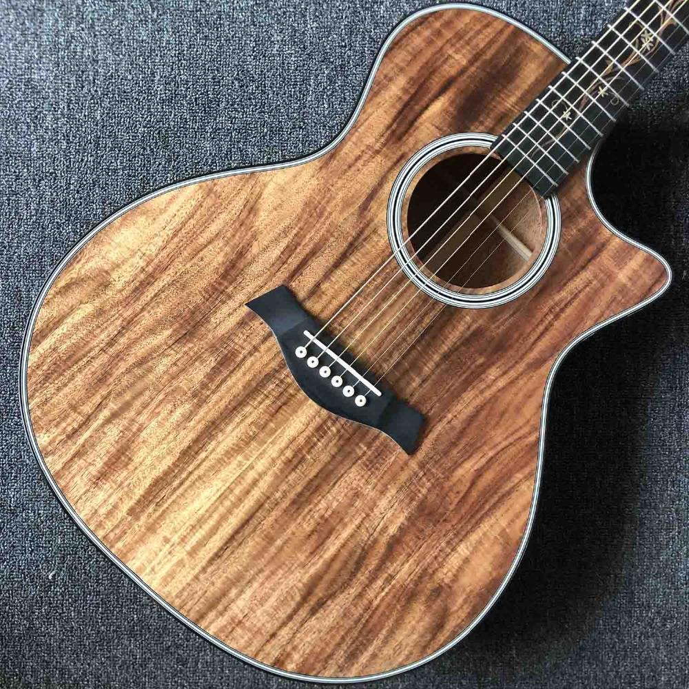 2020 New Custom 6 stringhe Tutti Koa Wood corpo rotondo Fingerboard chitarra acustica