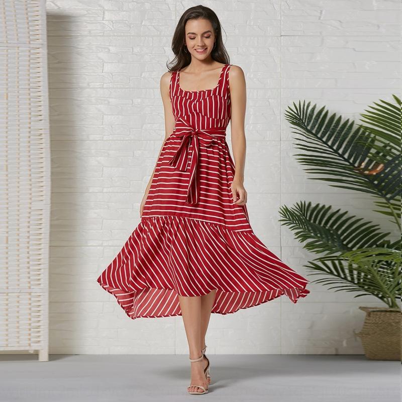 8hObg rSBeG Kadın bohem elbise Yeni 2020 tatil tarzı sapan İlkbahar / Yaz sapan büyük etek elbise dikiş baskılı çizgili