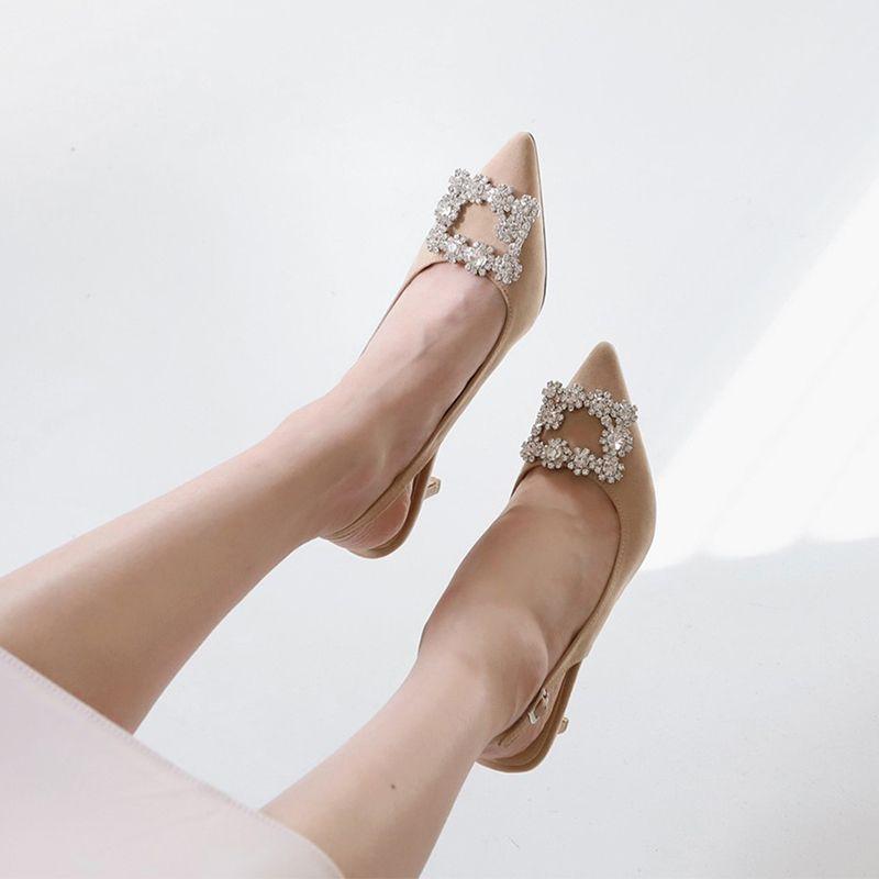 2020 Kadınlar Sandalet Yüksek Topuklar Casual Rhinestone Kadın Sivri Burun Katı Kadın arkası açık iskarpin Bayan İnce Topuklar Toka ayakkabı