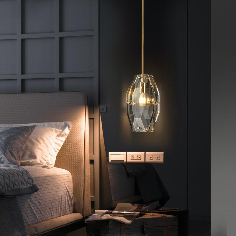2020 Popular Luxury Small Pendant Lights High Quality Pure Copper Crystal Glass Hanging Lamp Bedroom Restaurant Home Lighting