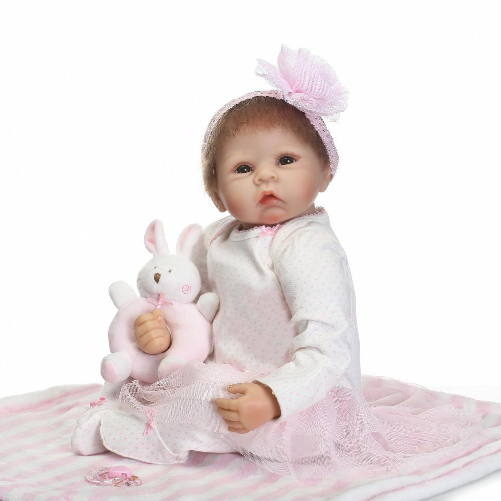 NPK 21inches lifelike reborn baby boy doll full silicone vinyl bebes reborn realistic princess baby toy doll