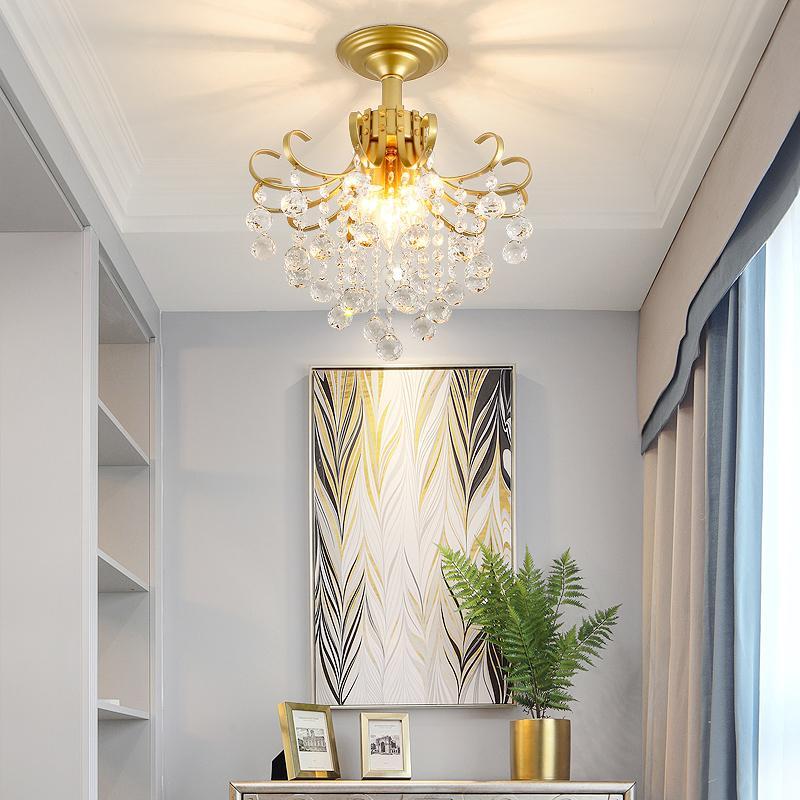 Lámparas de techo de cristal moderna iluminación de la lámpara para el dormitorio cocina Lustre Cristal K9 Cristal de Oro Negro del accesorio ligero