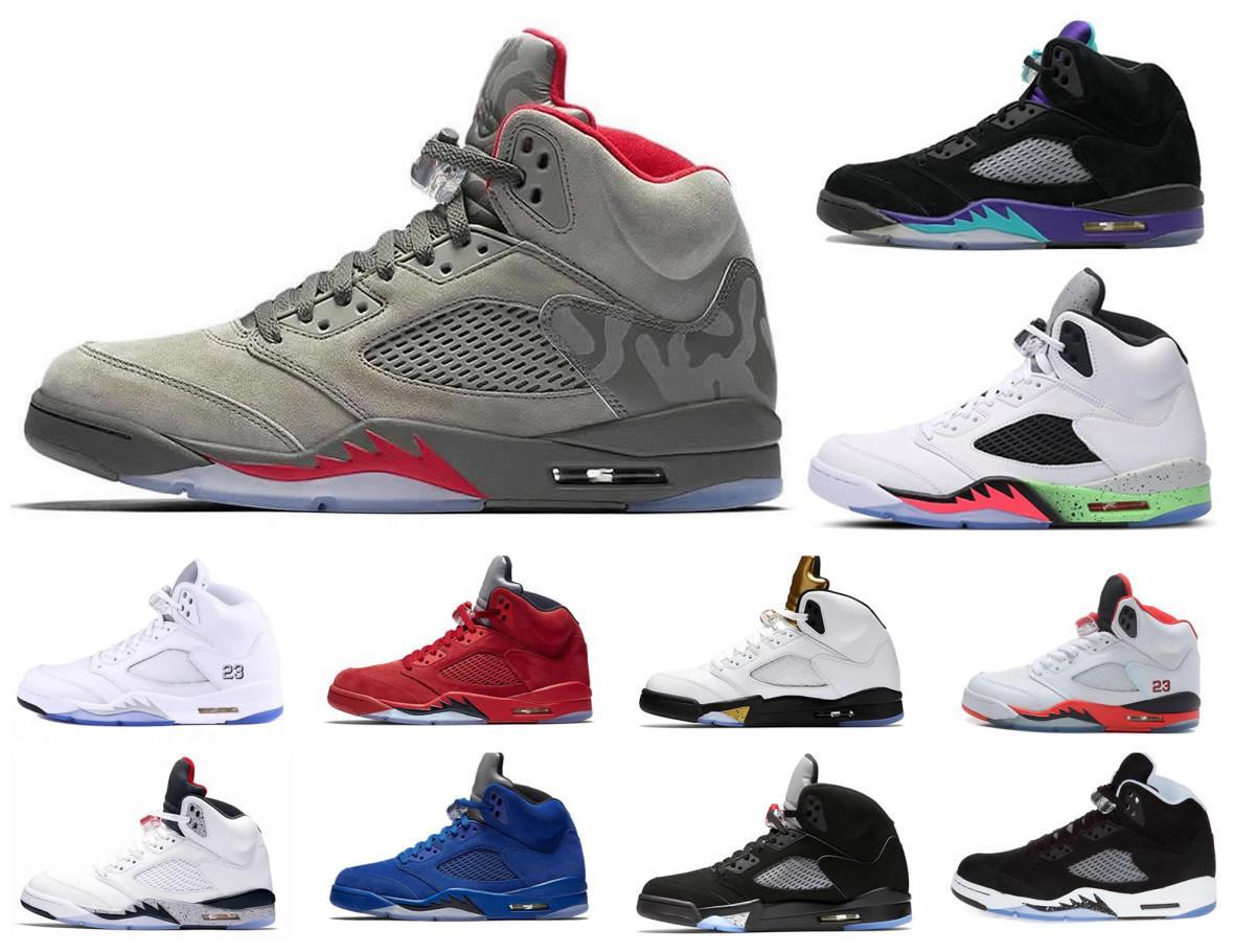 Basketball Hot Jumpman Chaussures Hommes 5 5 s V olympique métallique or blanc Cement Man OG Noir rouge métallisé taille Suede Sport Sneakers 40-46