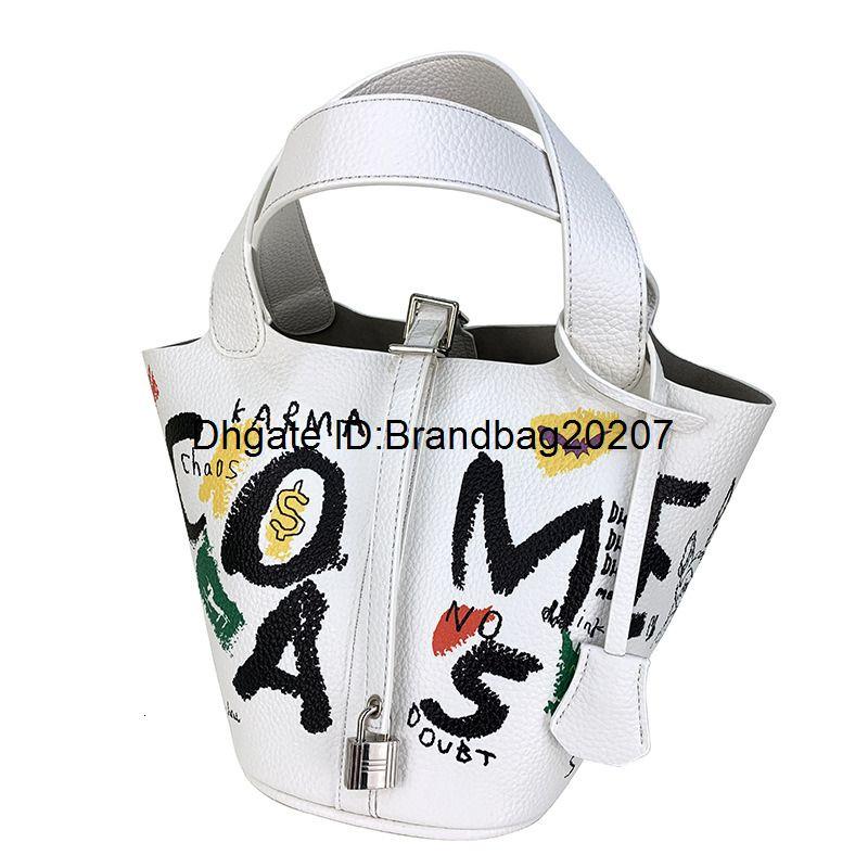 Brand New ведра мешка Белого дизайнер женской одежды граффити овощной корзина мать мешок молодость личность тенденция дикая диагональная женская сумка 665