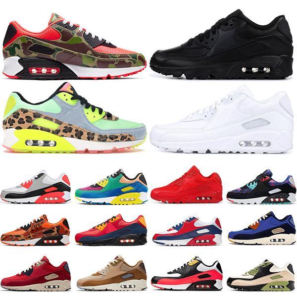 90 الاحذية الرجال حذاء رياضة 90S ثلاثية أسود أبيض كامو لندن USA قسط ولدت الأشعة تحت الحمراء لعبة الملكي إمرأة المدربين الرياضة الحجم 36-45