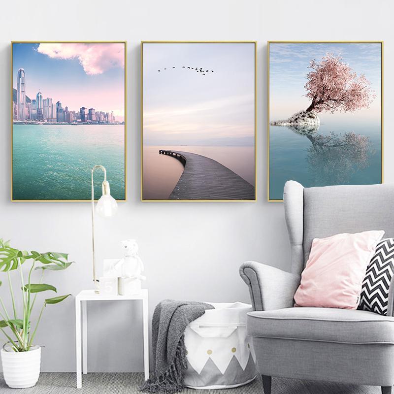 Árbol rosado hermoso paisaje marino HD Impreso lienzo pintura del arte de pósters cuadros de la pared de la sala Decor Home Decor