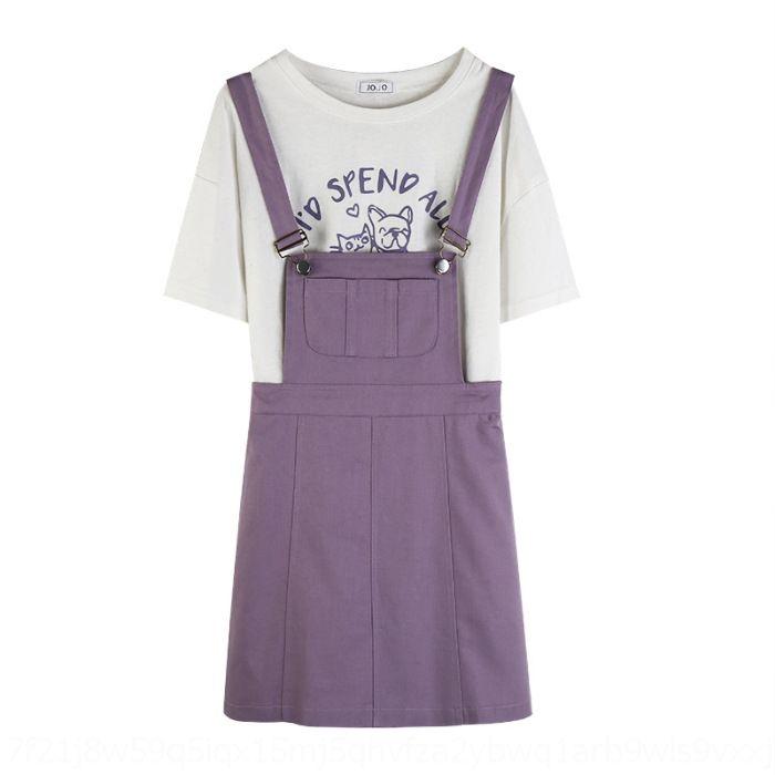 Şık Yaz bel zayıflama A- hattı askısı Resmi elbise kısa kollu etek 2020 PtZEf Bsuvd elbise yeni mor iki parçalı set