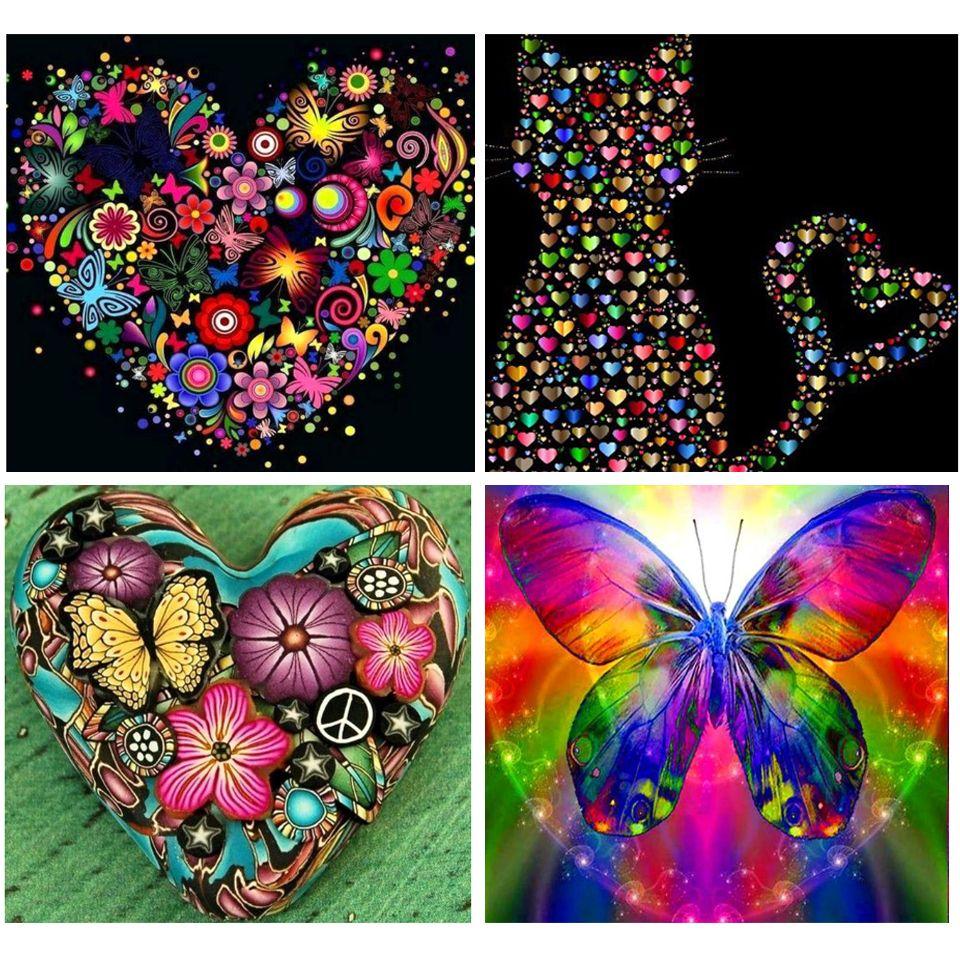 Diy 5D Алмазной Картину Цветого сердца бабочки Cat Cross Stitch Полной Алмазной Вышивка Mosaic Art Picture Стразы Декор подарки