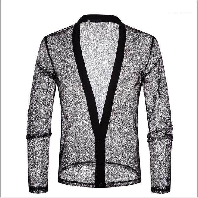 Sexy beiläufige Sommer-Tees Herren Designer Polo Shirts Transparent Verbandsmull Langarm Solid Color Herren Polos