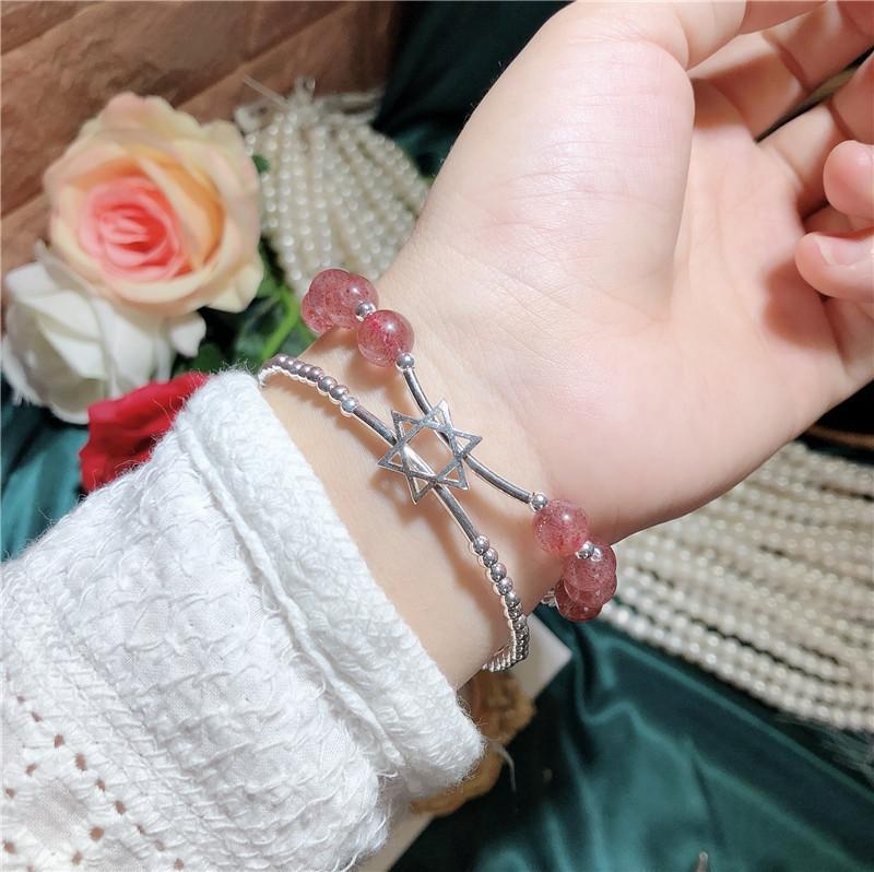 pers flor prata jóias de cristal coreano flor personalizado estilo coreano morango jóias de prata morango cristal AIQrQ pulseira lqlFq