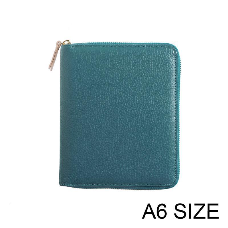 Moterm pianificatore Genuine Leather A6 Zipper notebook Diario rivista cancelleria piccolo blocco note Agenda Organizer con grande tasca