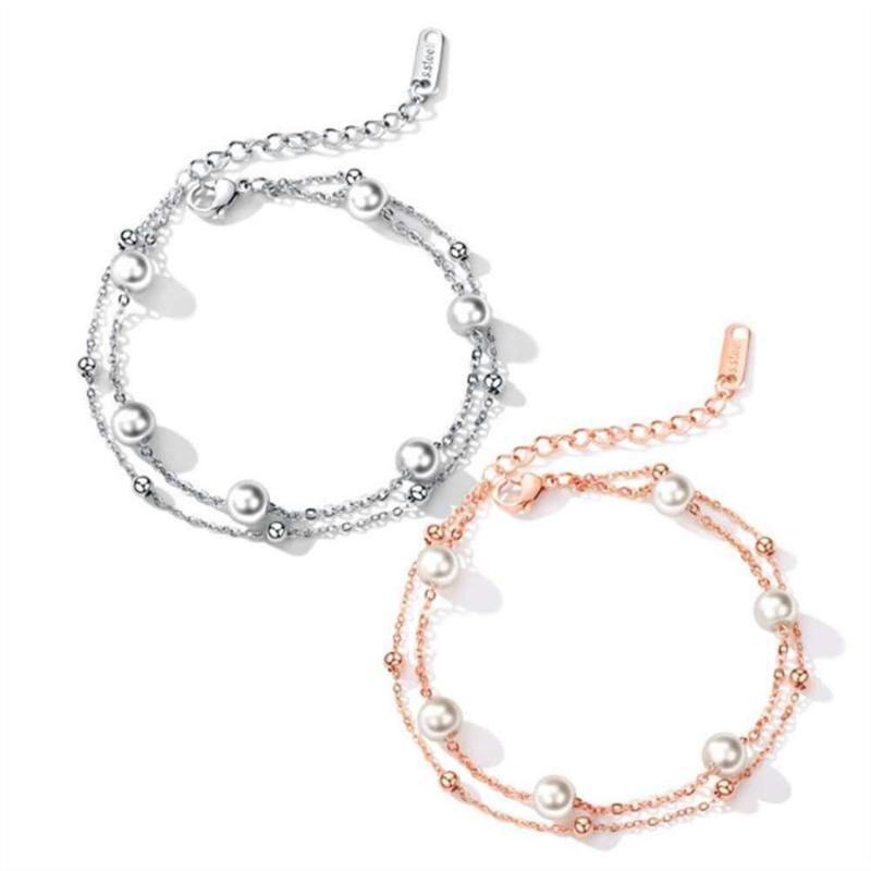 Ссылка, цепь женских ювелирных изделий титановая стальная розовая золотая двухслойный жемчужный браслет SO025