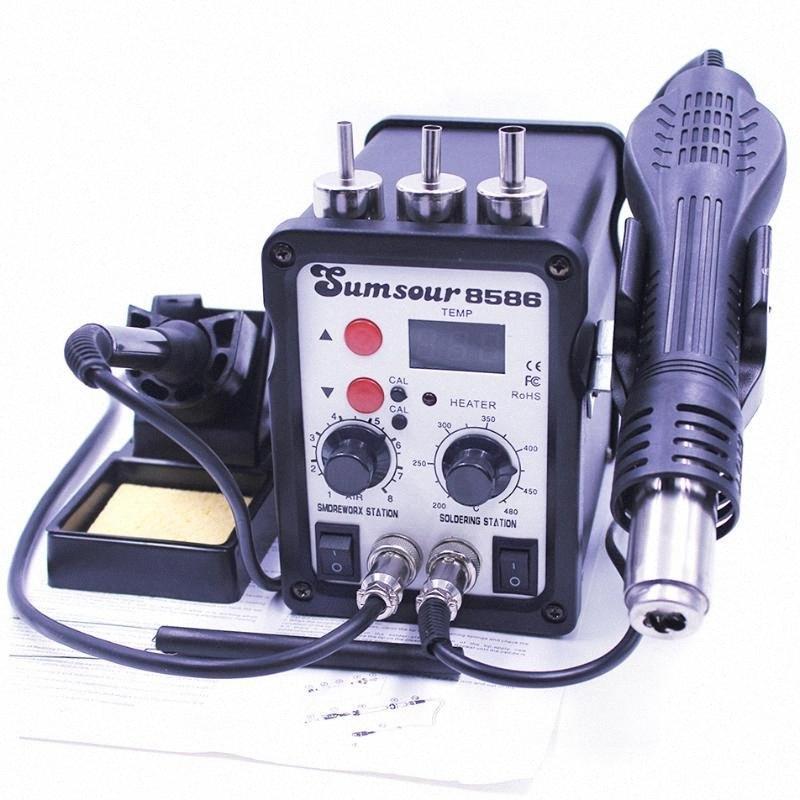 2 1 SMD Rework Lehimleme İstasyonu ise 8586 AC 110V / 220V 700W Sıcak Hava Isı Tabancası Lehim Demir İçin Kaynak Sökme Onarım Araçları yElV #