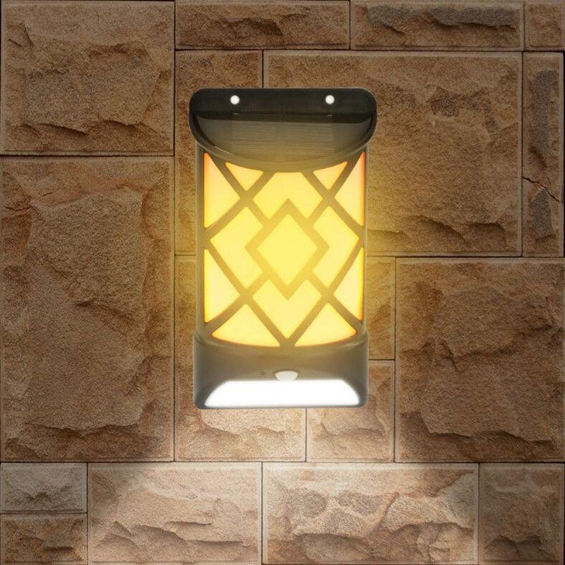 2 Hareket Sensörü Yard Duvar Güneş Lambalar Su geçirmez Sokak Dekorasyon Aydınlatma ile 1 Güneş Alev Etkileri Led Işık Açık Bahçe Lambası