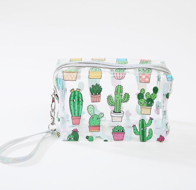3pcs Frauen PVC Kaktus Druck Transparent Reißverschluss Kosmetiktasche Mix Farbe