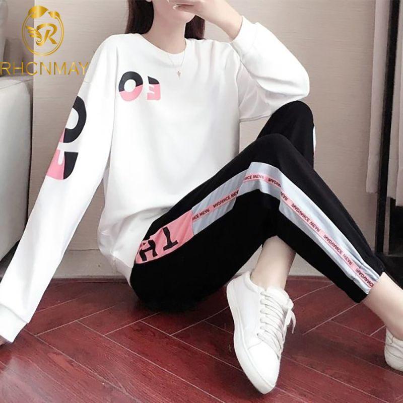 Sonbahar Kore Moda Kadın Giyim Eşofman İki Adet Set Casual Spor Suit O-boyun Harf Baskı Tişörtlü + Uzun Pantolon T200824