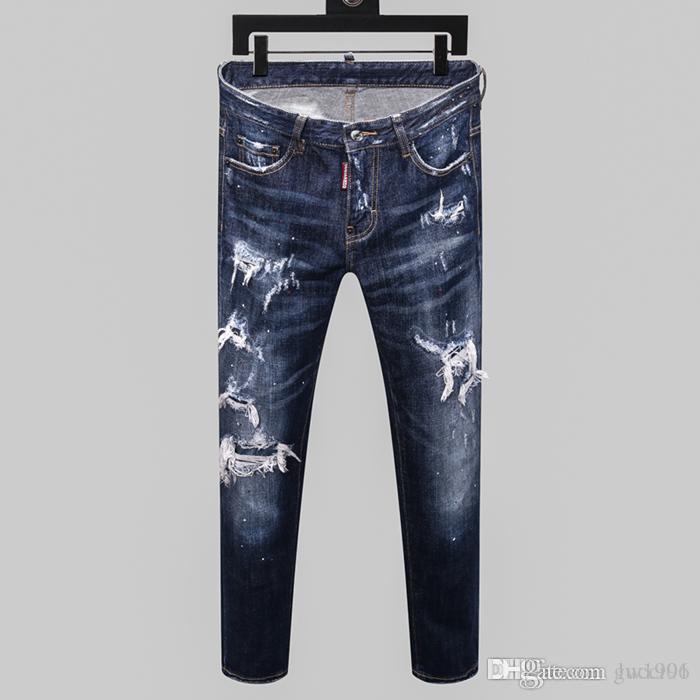 Designer de 20SS New Men Jeans afligido zipper Buraco Men Jeans alta qualidade Casual Jeans Homens magros motociclista calça azul M179246