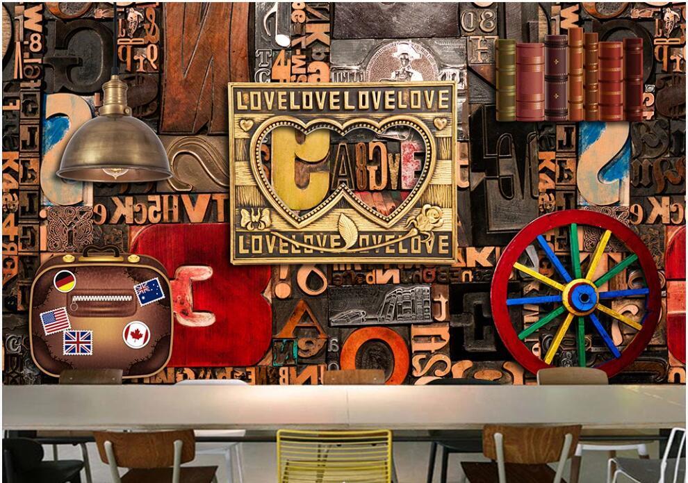 photo personnalisé 3d fond d'écran mural Anglais bois alphabet décor estampé maison fond outillage rétro peintures murales 3d fond d'écran pour le salon