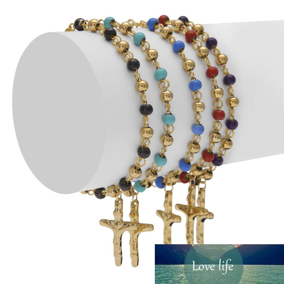 Men Women Stainless Steel Jesus Cross Pulseras Rosary Bracelets Gold Bead Bracelet Fashion Hip hop Jewelry 5 Color 18cm