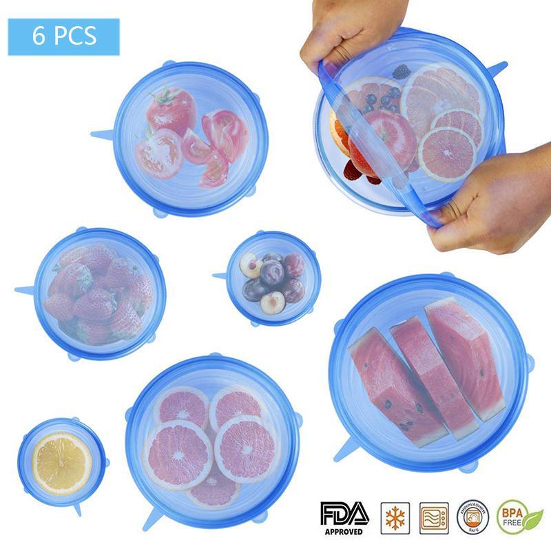 6 قطع سيليكون تمتد أغطية قابلة لإعادة الاستخدام محكم الغذاء التفاف الأغطية حفظ الطازجة ختم السلطانية بسط التفاف الغلاف مطبخ تجهيزات المطابخ