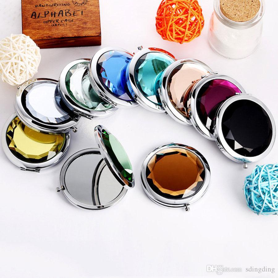 Promozione su ordinazione di cristallo Specchi di superficie della tasca Mini Specchio cosmetico donne cosmetici carino trucco rotonda Clamshell Specchi DH0863