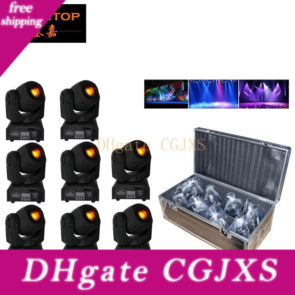 8in1 Flight Case mit Rädern Verpackung 10w Beam LED-Effekt-Disco-Licht RGBW LED Moving Head Bühnenlicht für Verein Minigröße Montagehaken