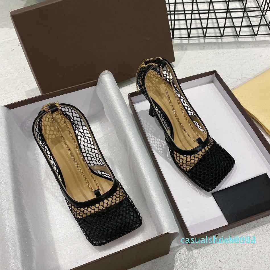 Primavera ed estate tacchi alti, nuovo progettista maglia sandali, design di lusso tacchi alti, tacchi alti 9.5cm C14