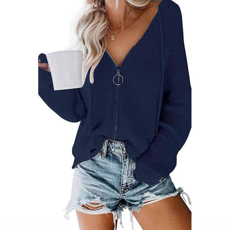 0No0u 2020 incappucciati maglione allentato delle donne di incappucciati allentati cerniera zip maglione maglione 2020