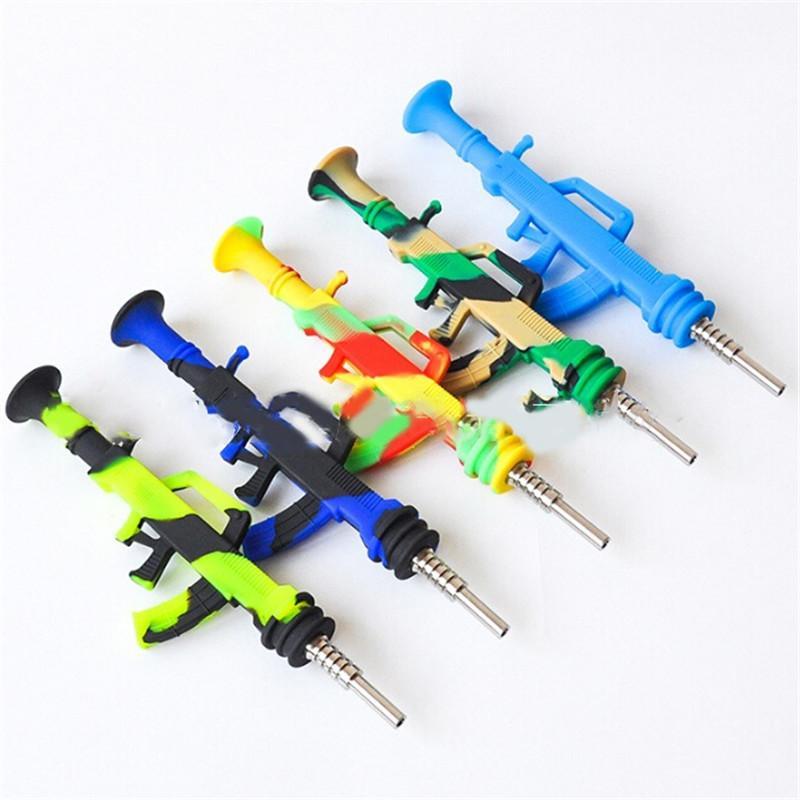 Renkli AK47 Şekli Silikon Boru Ile 14mm Dabber Titanyum Tırnak Sigara Dab Saman Makineli Tüfek Nektarı Kollektörü için Şekilli Bal Terrow