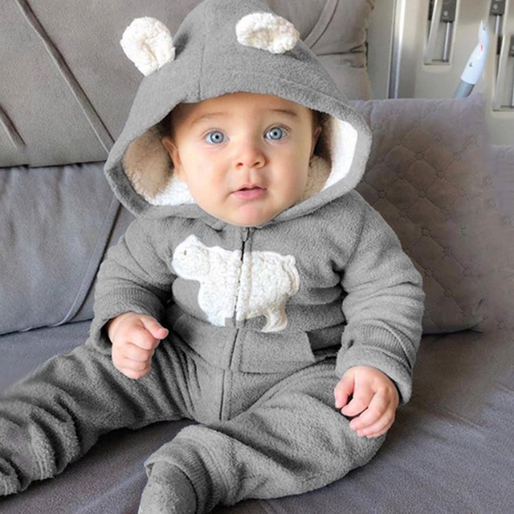 Newborns Baby Boy Romper Winter Fleece Jumpsuit Ear Hooded Romper Warm Coat Outwear Enfant Garcon