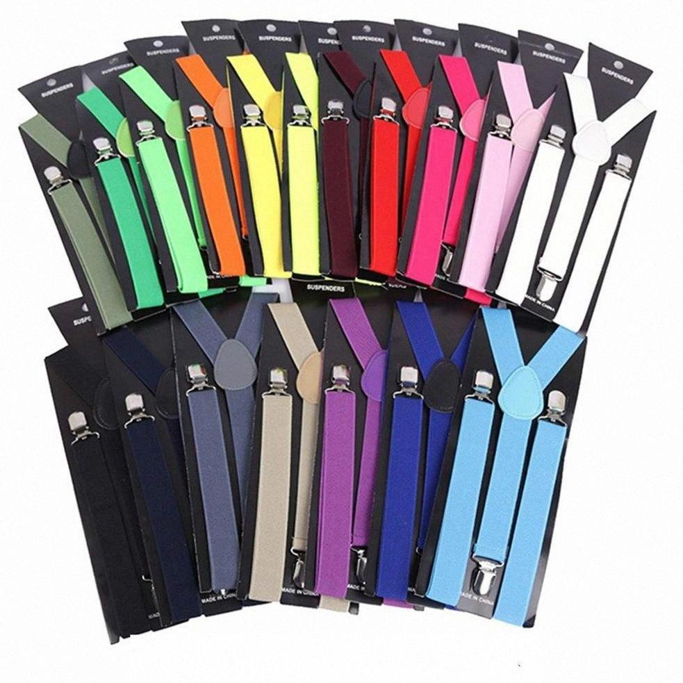 2,5 cm Unisex Hüftgürtel Weinlese-Mann-Hosenträger-Shirt Aufenthalt Fashion Solid Color Zahnspange Beiläufiges 3 Clips British Style Accessoires EEA1 W31e #