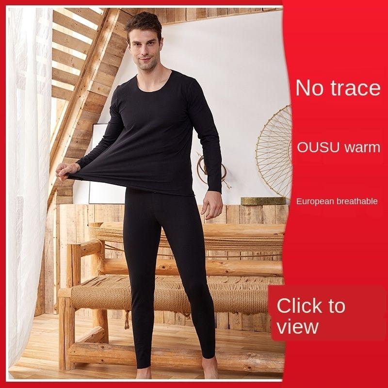 SVuxU IzPSS invierno ropa interior térmica de los hombres cl hilo en lo alto de la ropa interior caliente elástico y otoño pantalones ropa de otoño v térmica de los hombres sin costura