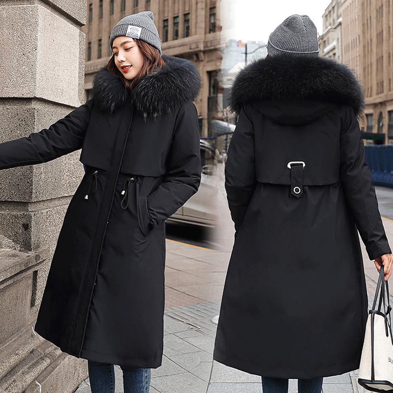 Manteau chaud d'hiver femmes épais manteau à capuchon Parkas femmes d'hiver Veste manches longues coréenne fourrure Parka coton vers le bas Femme Manteaux