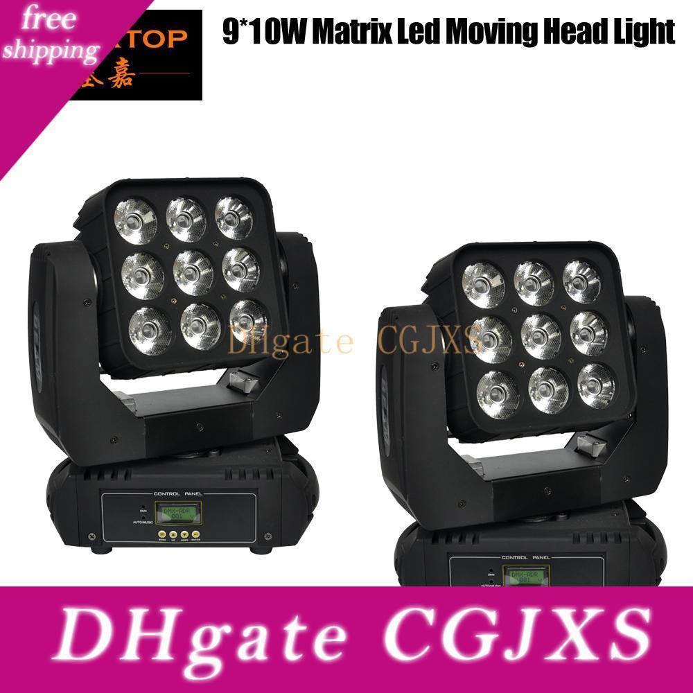 Freeshipping 2pcs / lot LED Matrix Jefe de luces 9 * 10w Led 4en1 móvil de la viga principal móvil de la luz Rgbw control DMX