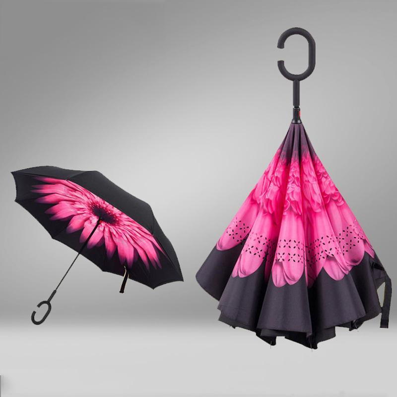 Commercio all'ingrosso di livello creativo invertito Ombrelli Doppia con C maniglia Inside Out Reverse antivento soleggiato pioggia Umbrella 9 colori DBC DH0622