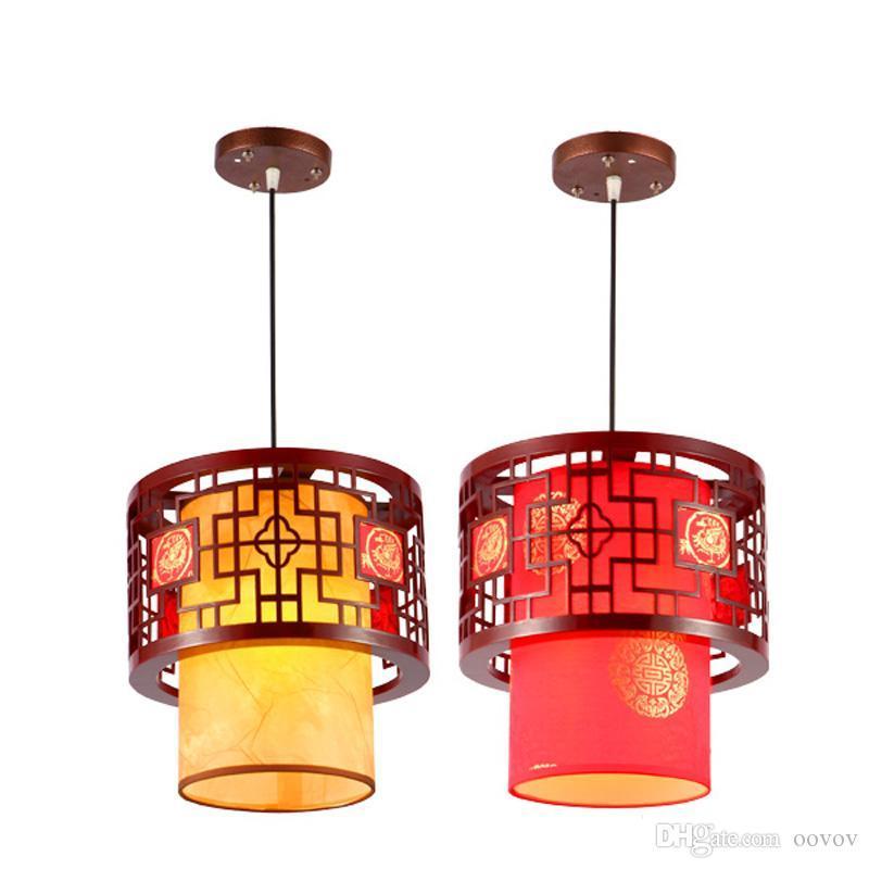 Китайский стиль деревянный Чайный подвеска лампа Урожай классический Столовая Подвеска Свет Балкон Коридор Подвесные светильники