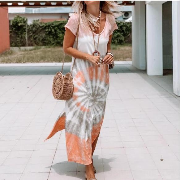 새로운 치마 xzWBt 새로운 대형 추상 패턴 드레스 긴 치마 대형 추상 패턴 롱 드레스