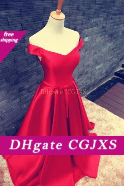 Desactivado Rojo elegante -La lleve a hombros 2019 vestido de noche vestido de fiesta del cordón del Bowknot -Up mate satinado Vestidos de Fiesta Noite