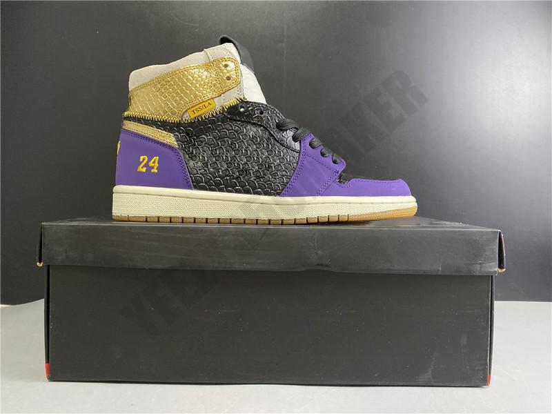 2020 24 8 Cirujano de zapato alto 1 1s OG TSS / LA Serpentina Negro Púrpura Dorado Baloncesto Shoes de baloncesto 555088-171 Zapatillas Atléticas Tamaño 39-46