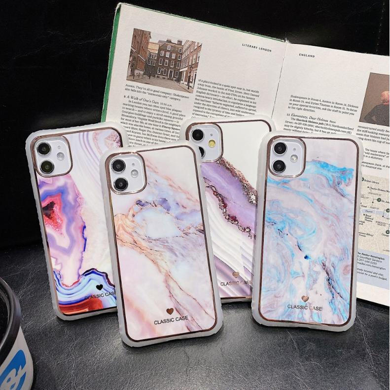 caso do iPhone de mármore 11 Pro Max SE X XR XS Max iPhone 6 6S mais 7 8 Plus Korean Glossy silicone suave Carcaça