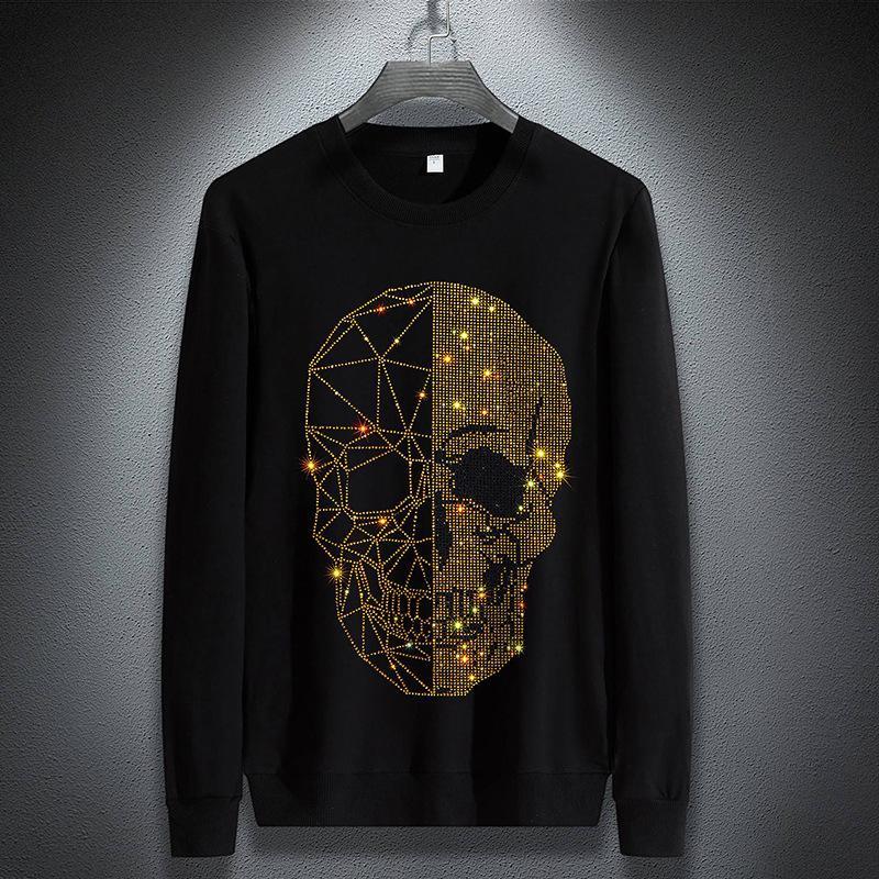 GennaioNasnow Brand Fashion Designer Winter Felpe con cappuccio da uomo Skulls Strass Manica lunga T-shirt modali in cotone o collo manica corta con cappuccio sottile