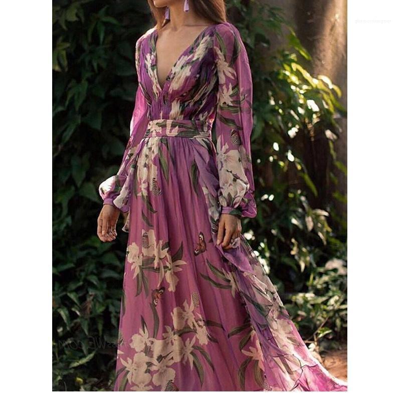Giù Flora stampa lunga di modo del vestito dal manicotto Famale Abbigliamento casual signore scollo a V chiffon dalla vita Dress